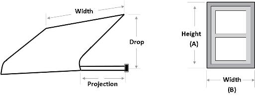 Measure for the Series 3100 Window Awning